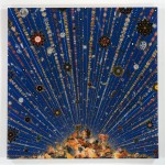"Fred Tomaselli, Car Bomb, 2008. Photocollage, acrylic, resin on wood panel. 60"" x 60""."