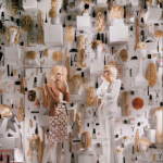"A window display created to celebrate Plum Syke's book ""Bergdorf Blondes."""