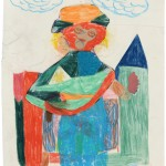 Untitled, 2010, crayon on paper and collage.