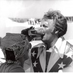 Evel Knievel on the set of Viva Knievel, 1977.