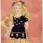"Henry Darger, ""Study of a Vivian Girl with Doll.""  Watercolor, carbon tracing, and pencil on paper, 12 x 9 inches. Courtesy of the American Folk Art Museum."