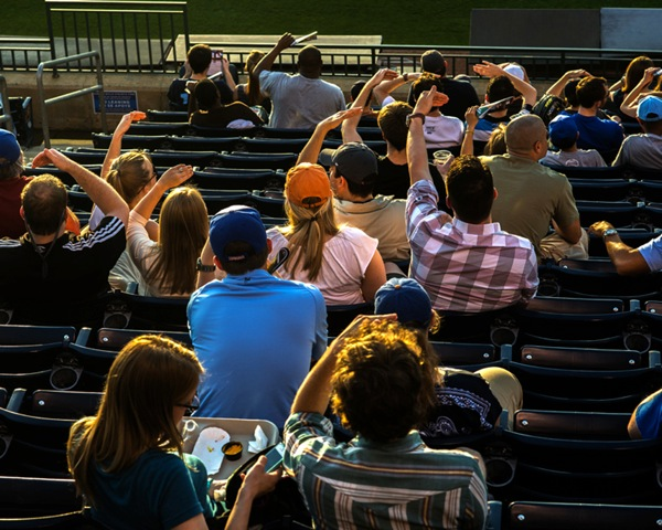 Fans shielding their eyes from the afternoon sun. Photo: Frank Hunter.