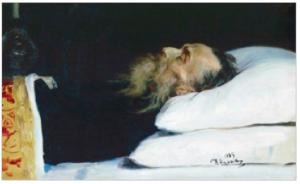 """""""Nikolai Kostomarov in his coffin,"""" oil on canvas, Ilya Repin, 1885."""