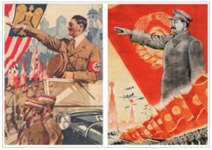 Propaganda posters, Hitler and Stalin.