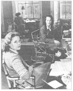Sonia Brownell in 1949 (left, with Lys Lubbock). Orwell Archive, University College, London.