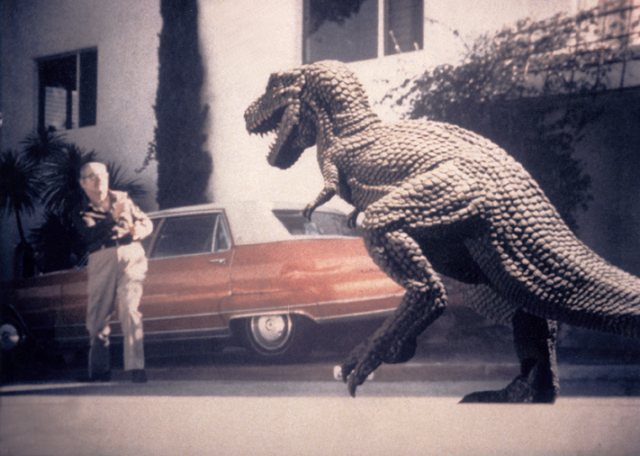 Allosaurus visits Harryhausen friend Forest J. Ackerman at his home in Griffith Park, Los Angeles.