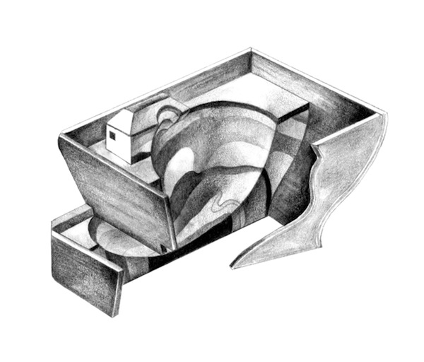Rule of exit, graphite on paper, 10cm x 10cm