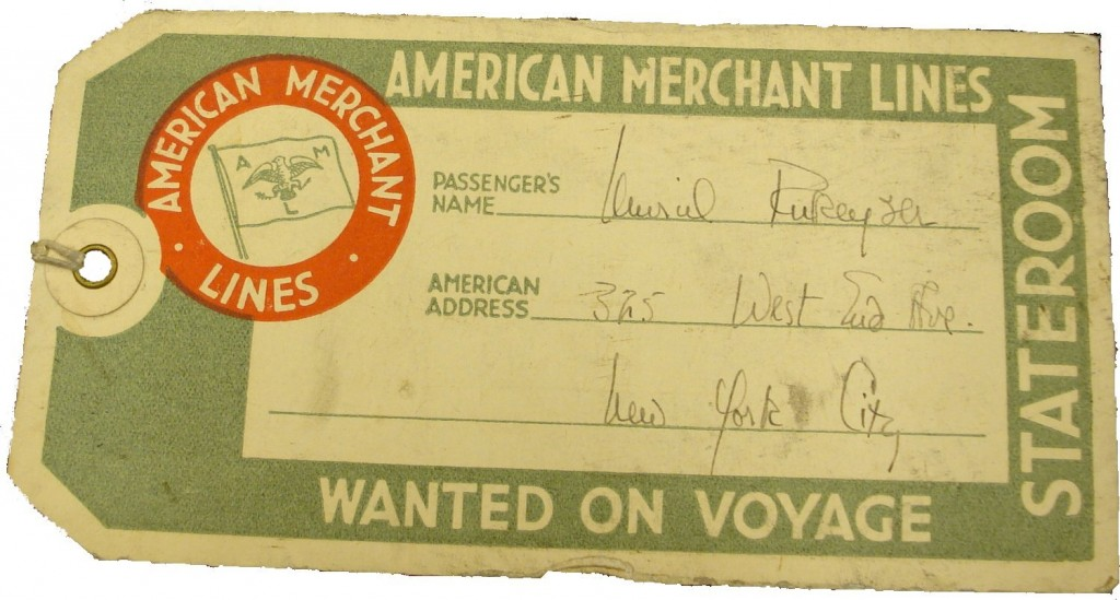 A baggage ticket from Rukeyser's transatlantic voyage from New York to London.