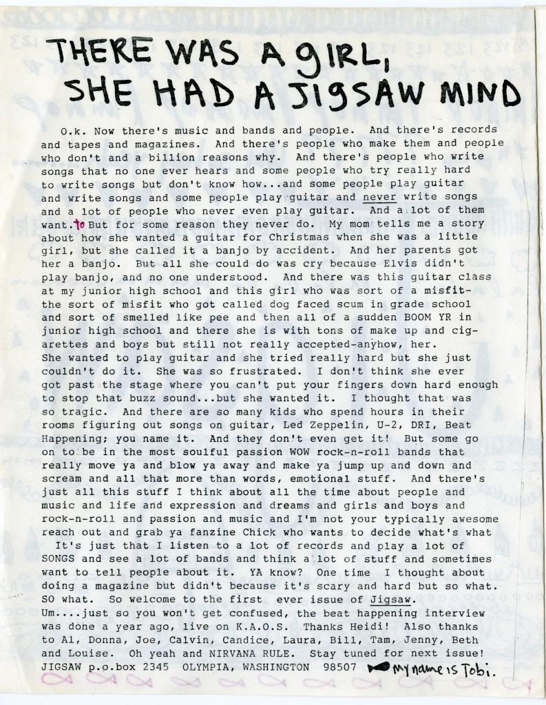 Jigsaw #1, Tobi Vail