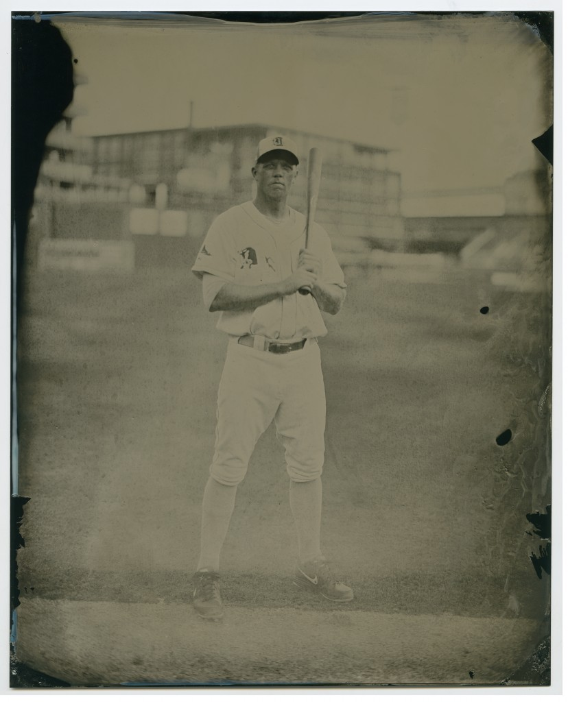 Shelley Duncan at the Durham Bulls Athletic Park, on August 9, 2013. Wet-plate tintype by Leah Sobsey/Tim Telkamp.