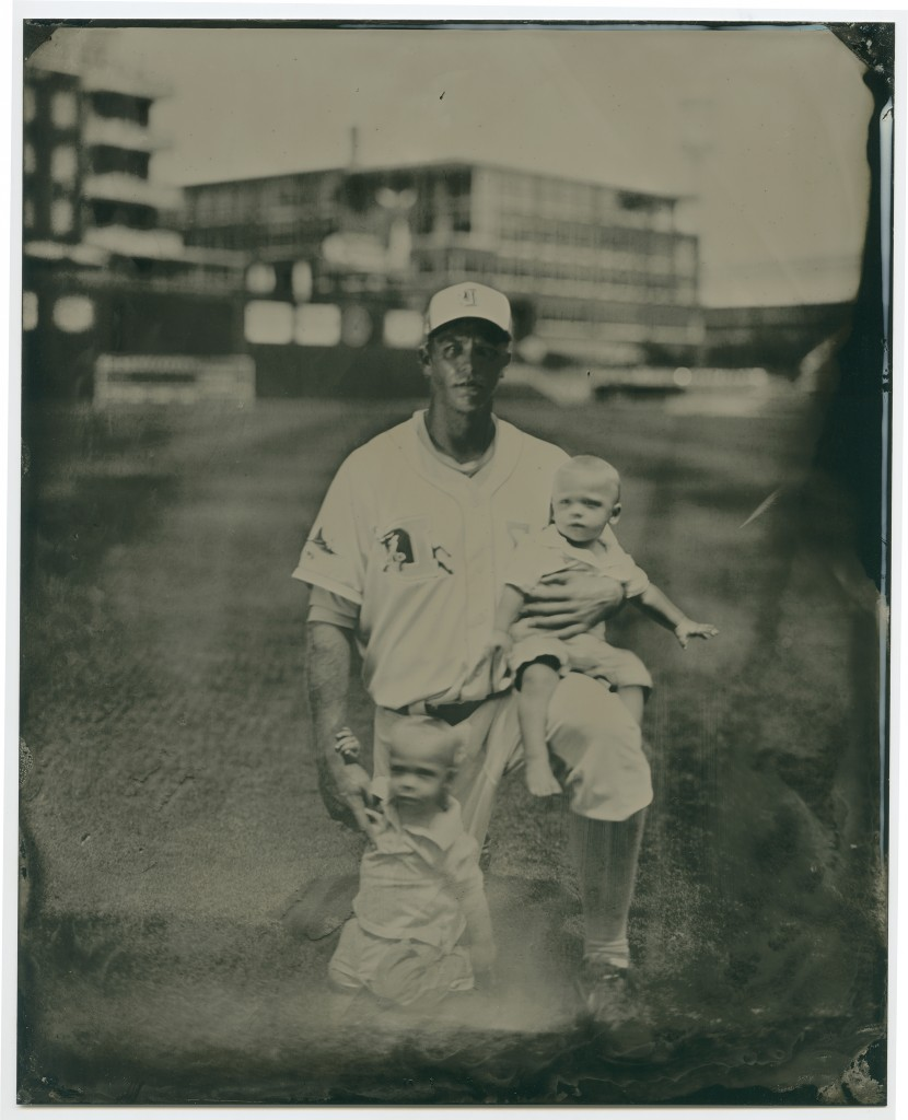 Shelley Duncan and his sons. Wet-plate tintype by Leah Sobsey/Tim Telkamp.