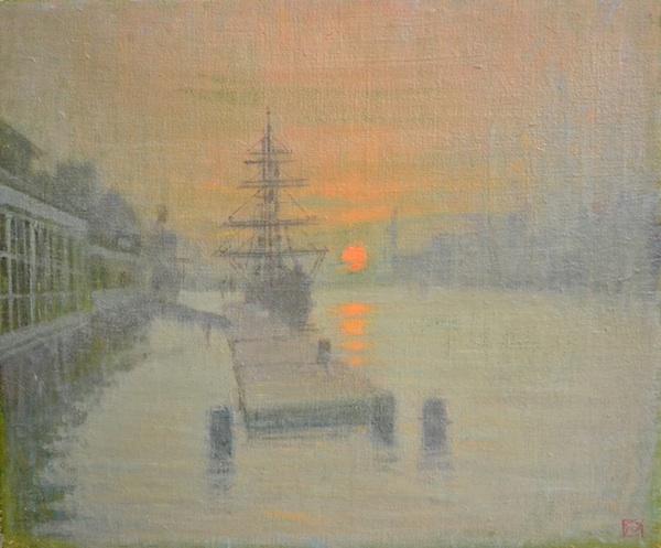 """Gerald Mynott, """"Towards the New World, Dublin Harbour"""" via Francis Kyle Gallery"""