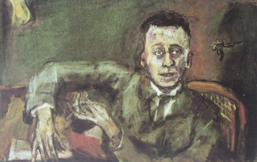 Oskar Kokoschka's 1925 portrait of Karl Kraus. Oil on canvas, 65 x 100 cm, Museum Moderner Kunst, Vienna.