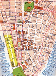 Map of Lower Manhattan highlighting Little Syria, c. 1920. Courtesy Arab American Museum