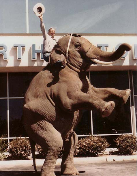 Cal Worthington on an elephant