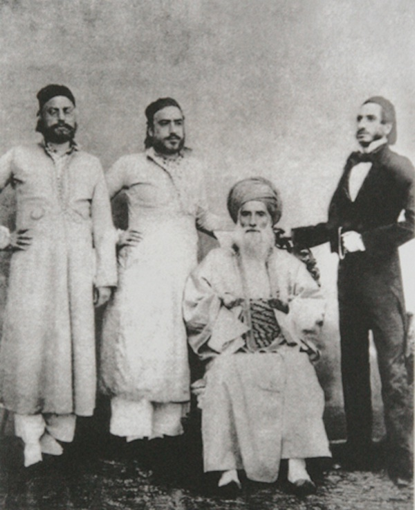 David Sassoon (seated) and his sons Elias David, Albert (Abdallah) & Sassoon David.