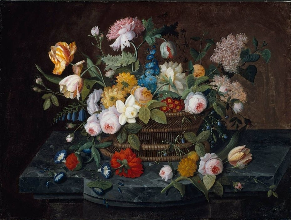 Severin Roesen, Still Life—Flowers in a Basket, ca. 1850s.