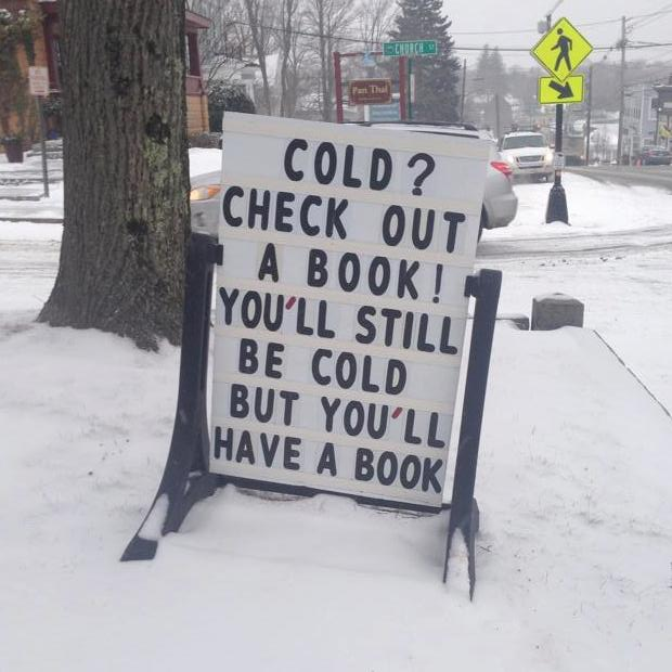 library cold sign