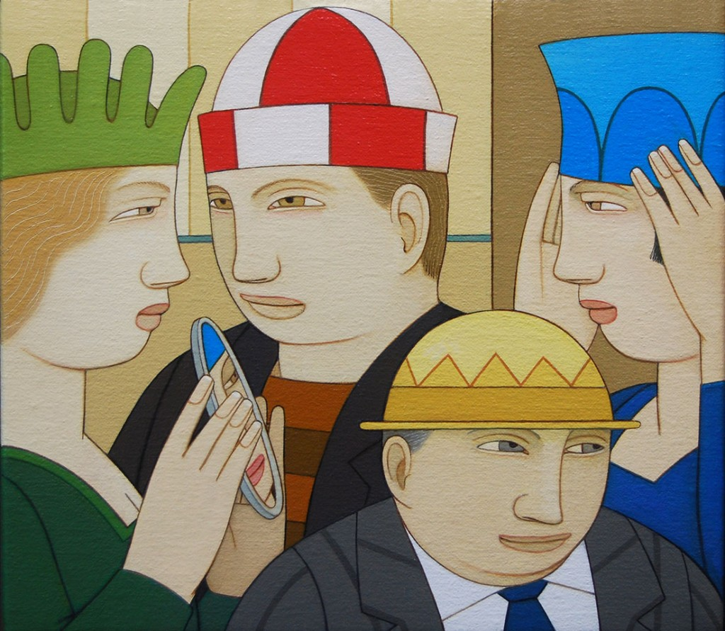 """Andrew_Stevovich_oil_painting,_Hat_Party,_2012,_7""""_x_8"""""""