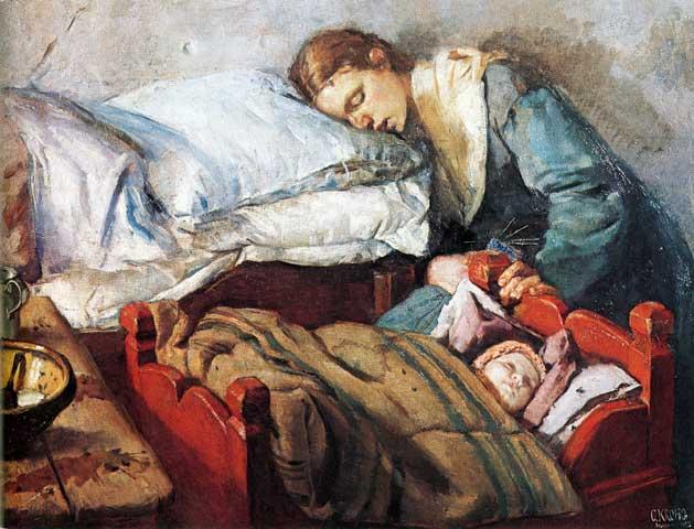 Christian_Krohg-Sovende_mor_med_barn_1883