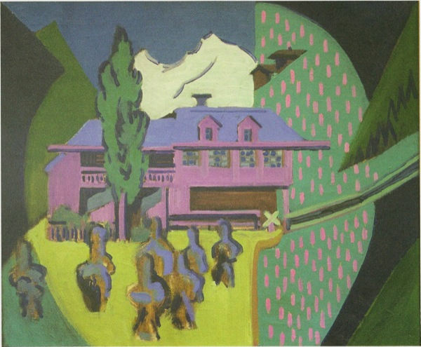 Ernst_Ludwig_Kirchner_-_Violett House in frront of a snowy mountain_-_1938