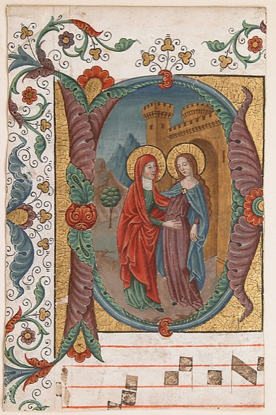 Manuscript Illumination with the Visitation in an Initial D from a Choir Book late 19th c