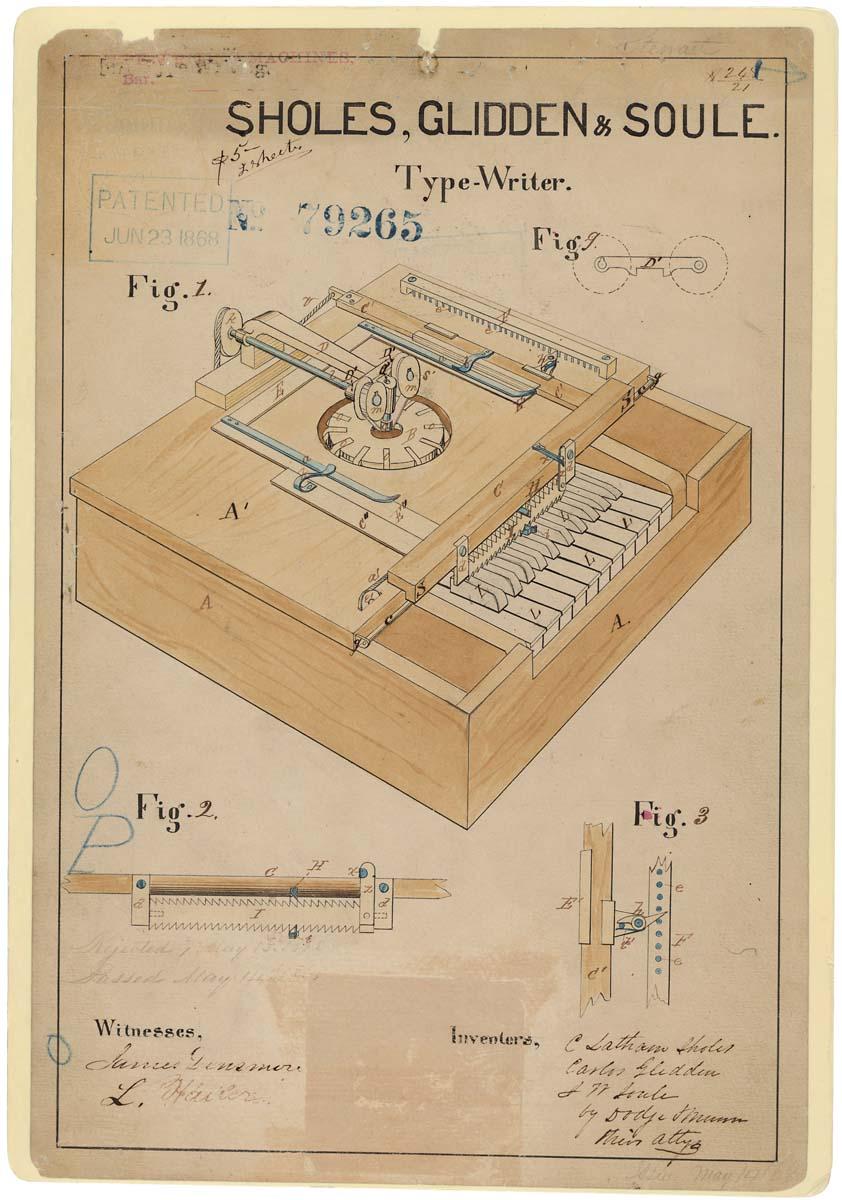 07253_2003_001.tif Typewriter Patent drawing 6/23/1868