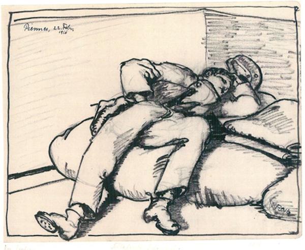 Flaig_Kriegstagebuch_Blatt_11_Schlafender_Kamerad_1916