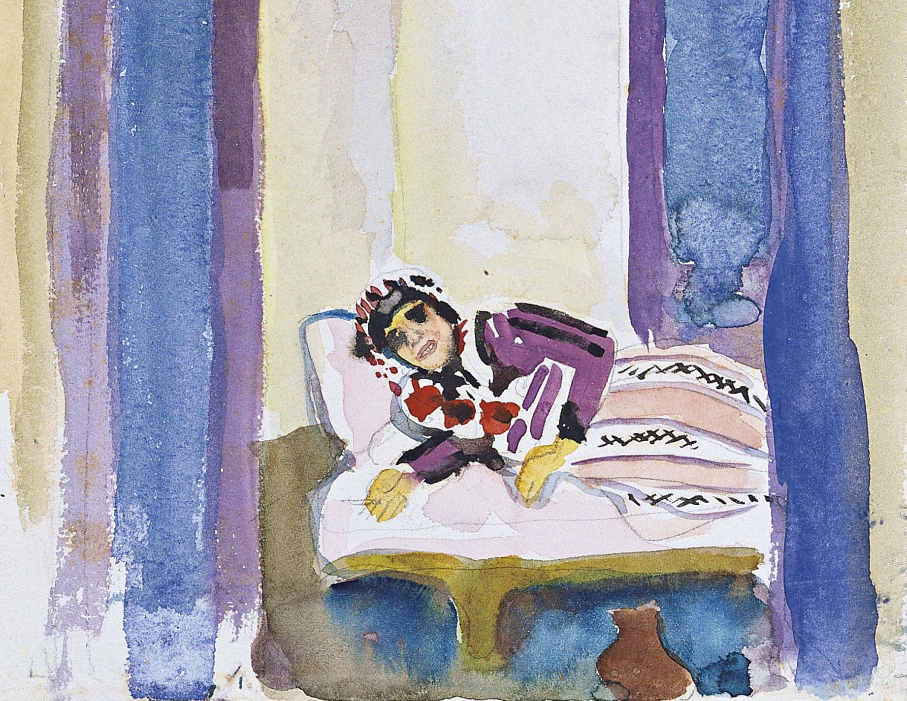August_Macke_-_Eine_Frau_auf_einem_Divan_(1914)