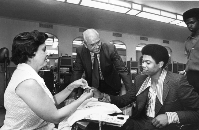 Dock Ellis getting a manicure in a Detroit barbershop on July 13, 1971. He was starting pitcher later that day for the National League in tonight's All-Star game with the American League.