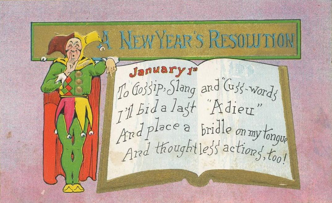 PostcardNewYearsResolutionGossipSlangEtcCirca1909