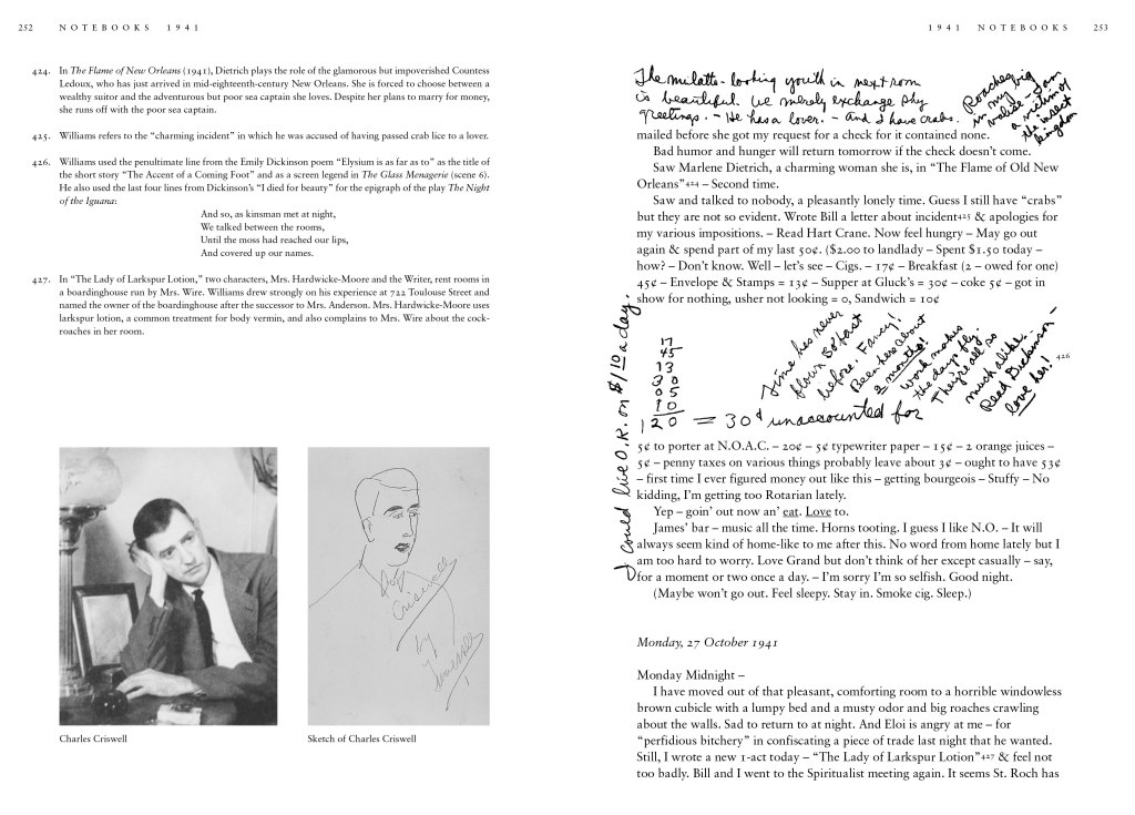 From Tennessee Williams: Notebooks. Copyright The University of the South. Photo by Bill Wood (left); Harry Ransom Research Center, University of Texas Austin (right)