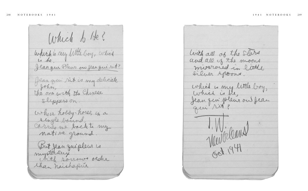 From Tennessee Williams: Notebooks. Copyright The University of the South; Courtesy Columbia University Rare Book and Manuscript Library