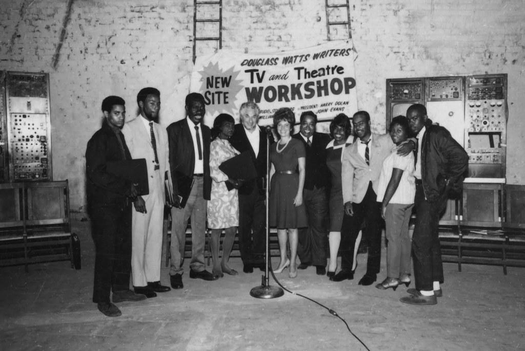 Budd Schulberg (center) at the Watts Writers' Workshop, ca. 1965.