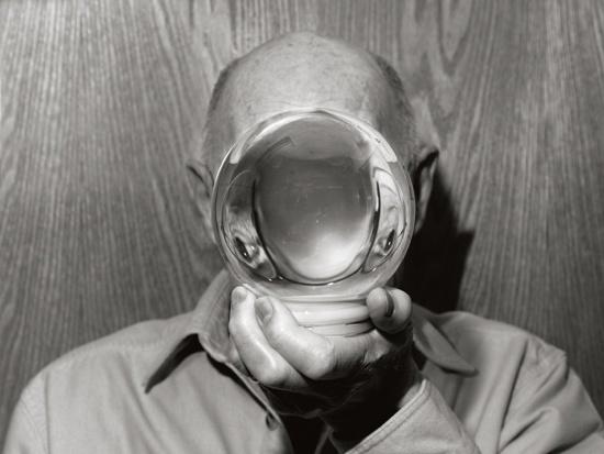 The last snow globe repairman. Northfield, Minnesota, 2012, black-and-white photograph.