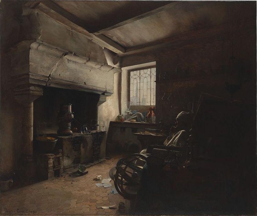An_alchemist._Oil_painting_by_E._Lomont,_1890_Wellcome_L0075259