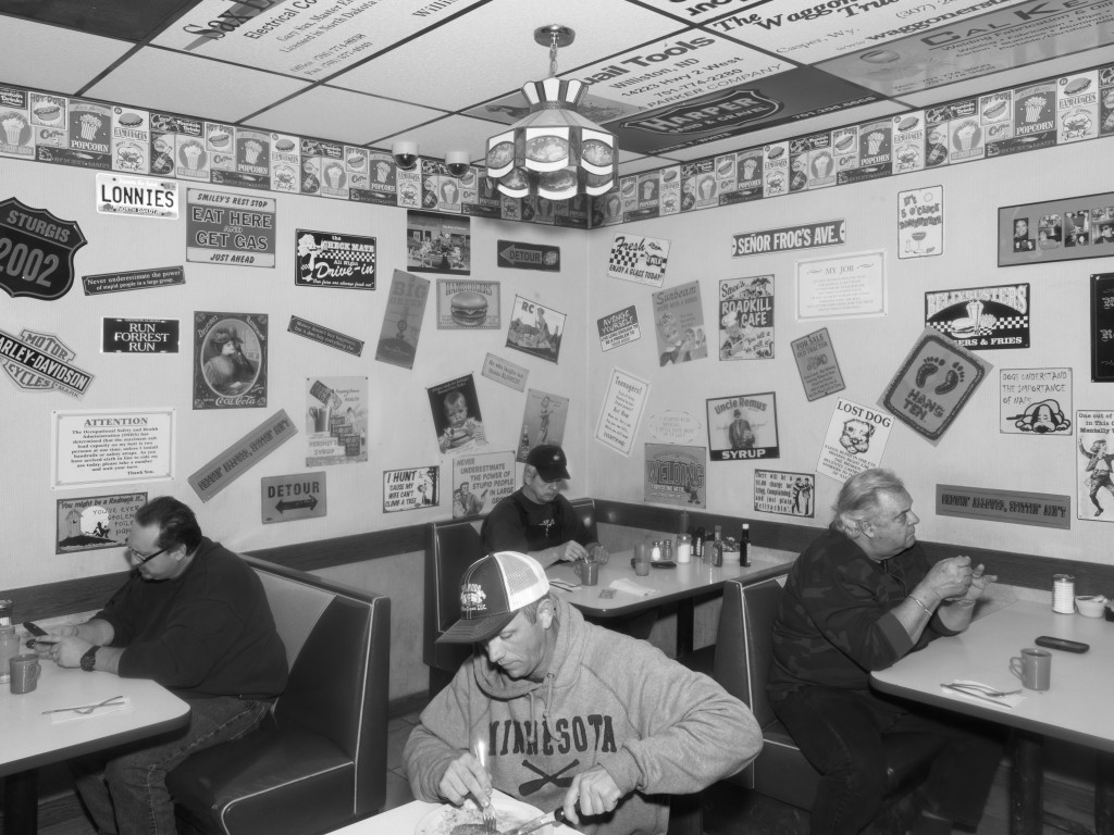 Lonnie's Roadside Cafe. Williston, ND. 2012, black-and-white photograph.