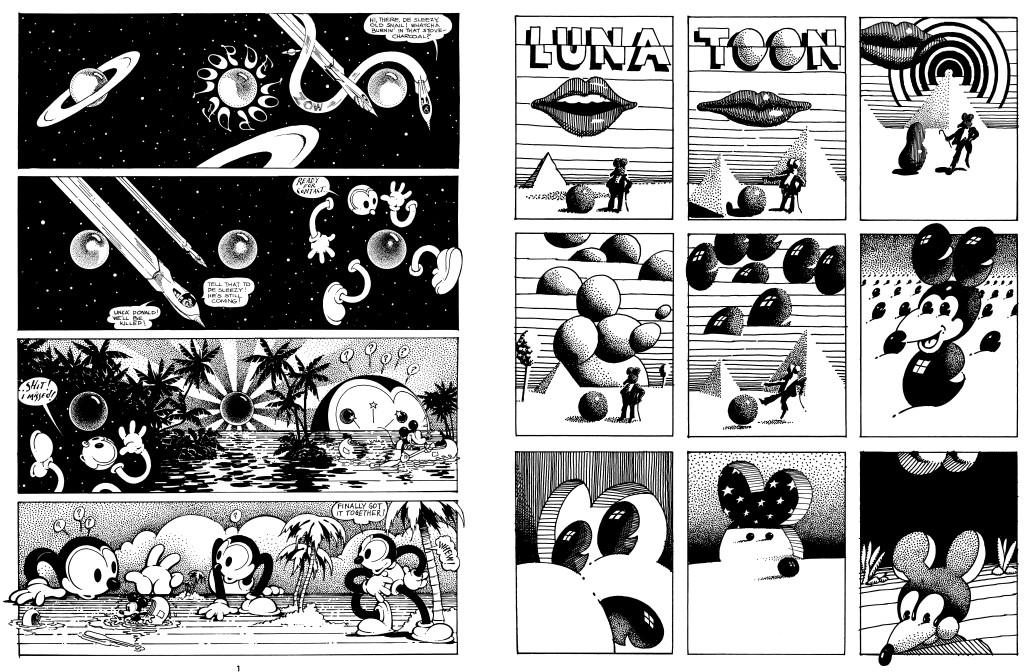 "Left: The first page of ""Loop de Loop,"" from Zap #6. The first page of ""Luna Toon,"" from Zap #2. Both © Victor Moscoso"