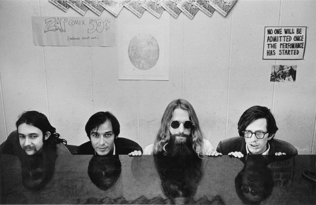 From left: S. Clay Wilson, Victor Moscoso, Rick Griffin, Robert Crumb, in 1968.