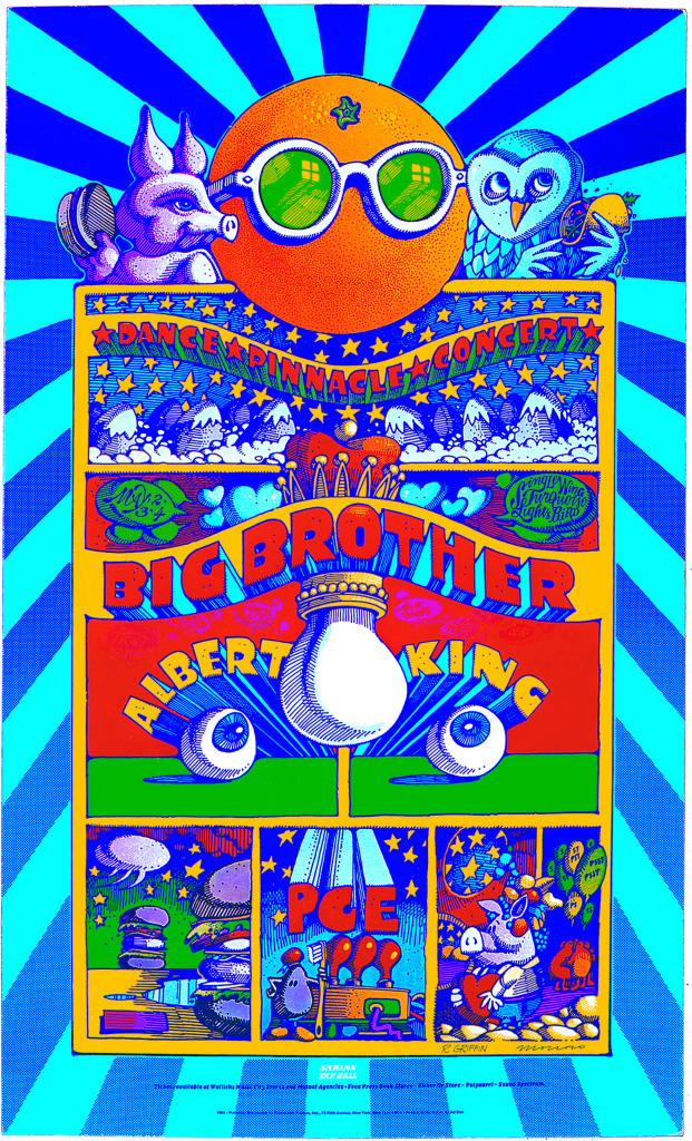 Moscoso and Griffin's poster for an event in 1968 at the Shrine Auditorium, Los Angeles. ©Victor Moscoso and Rick Griffin