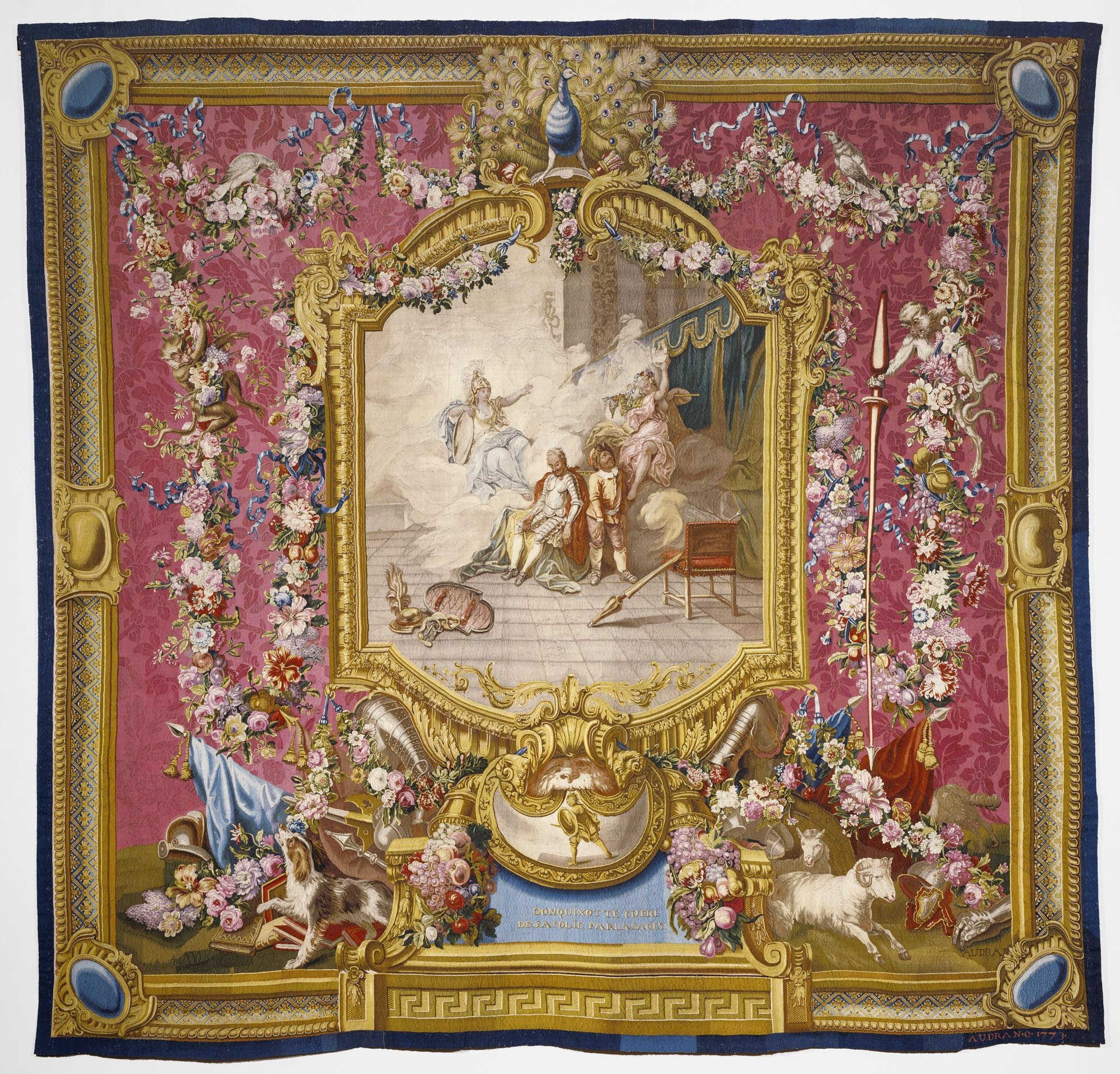 Tapestry: Don Quichotte guéri de sa folie par la sagesse, from