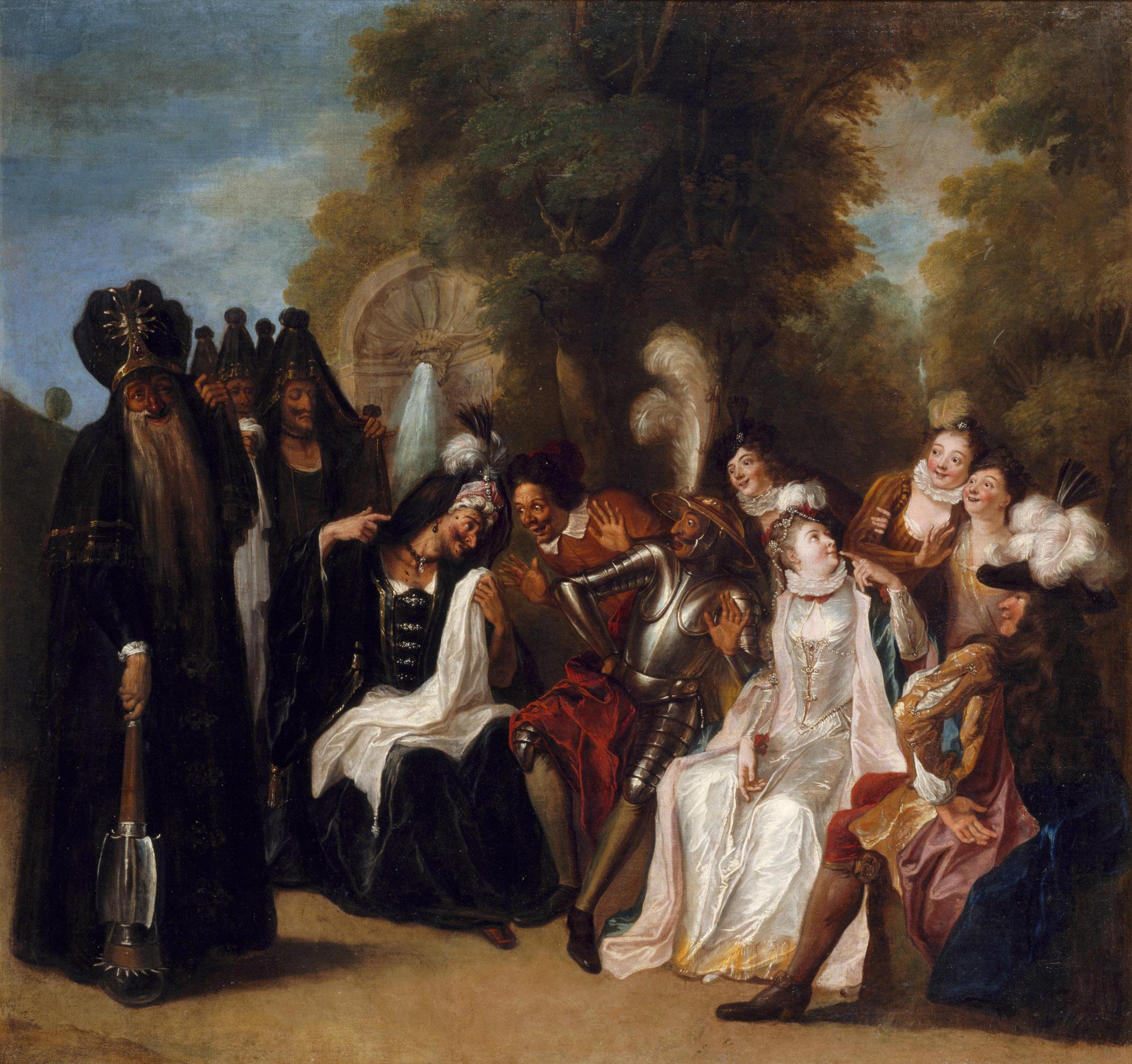 """Histoire de Don Quichotte : """" La Dolorida affligÈe de sa barbe demande ‡ Don Quichotte de la venger"""""""