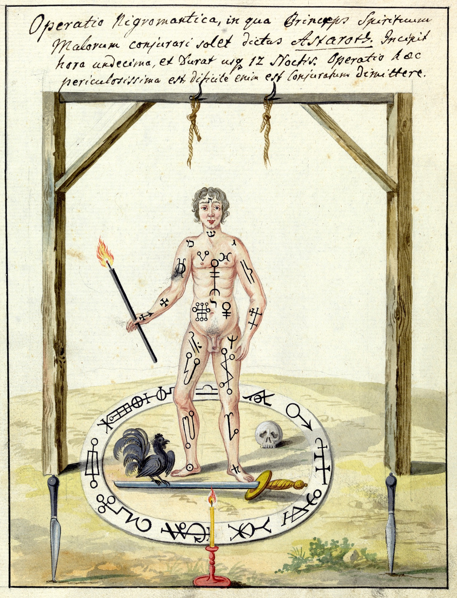 L0076376 Illustration of a magic circle ritual. Credit: Wellcome Library, London. Wellcome Images images@wellcome.ac.uk http://wellcomeimages.org Compendium rarissimum totius Artis Magicae sistematisatae per celeberrimos Artis hujus Magistros. Anno 1057. Noli me tangere. Watercolour c. 1775 Published:  -  Copyrighted work available under Creative Commons Attribution only licence CC BY 4.0 http://creativecommons.org/licenses/by/4.0/