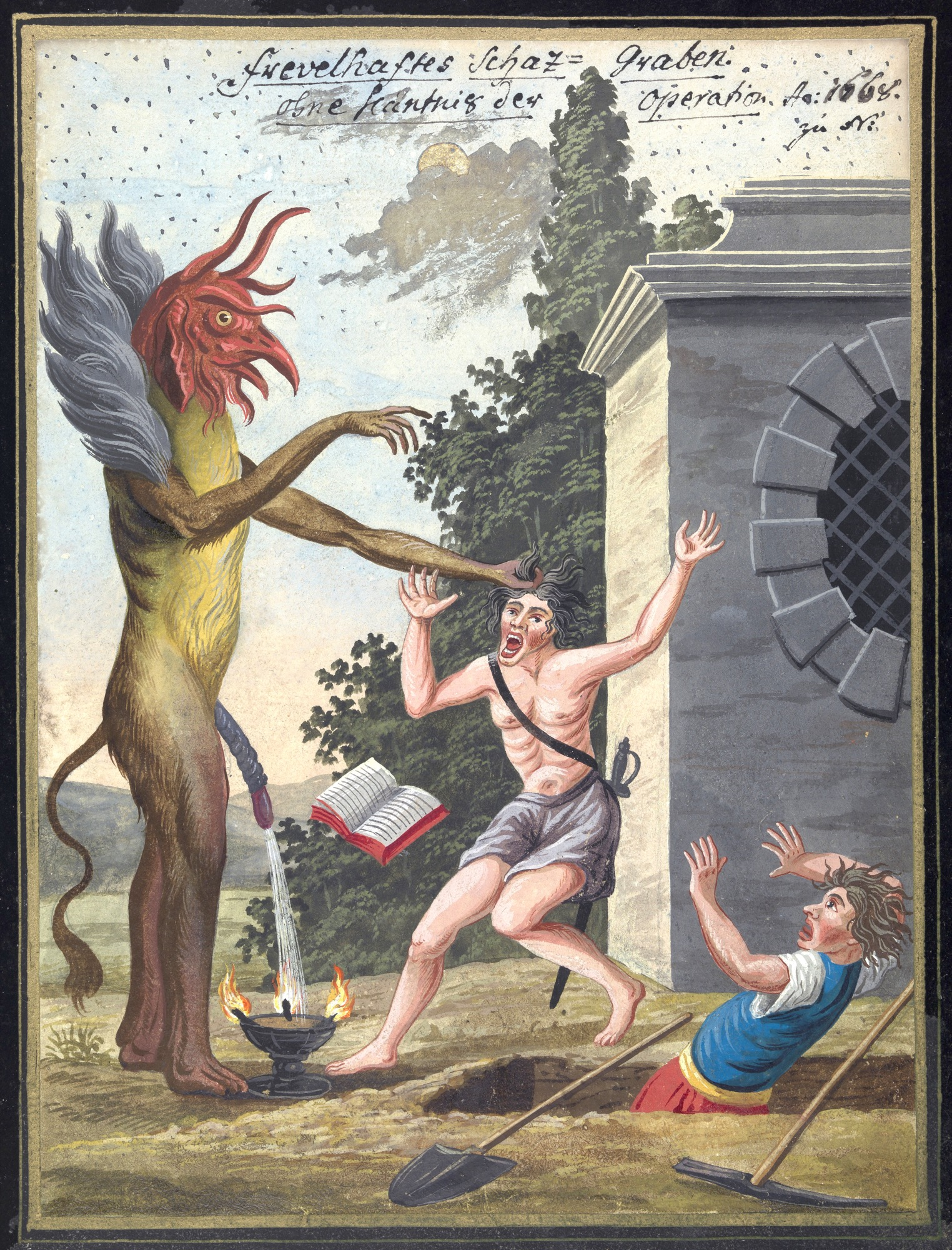 L0076363 A compendium about demons and magic. MS 1766. Credit: Wellcome Library, London. Wellcome Images images@wellcome.ac.uk http://wellcomeimages.org Compendium rarissimum totius Artis Magicae sistematisatae per celeberrimos Artis hujus Magistros. Anno 1057. Noli me tangere. Watercolour c. 1775 Published:  -  Copyrighted work available under Creative Commons Attribution only licence CC BY 4.0 http://creativecommons.org/licenses/by/4.0/