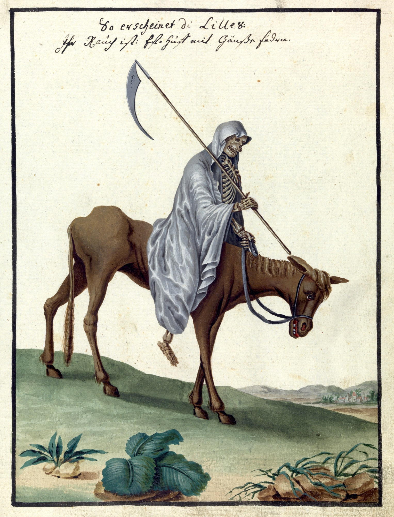 L0076368 Illustration of the Grim Reaper on horseback, MS 1766. Credit: Wellcome Library, London. Wellcome Images images@wellcome.ac.uk http://wellcomeimages.org Compendium rarissimum totius Artis Magicae sistematisatae per celeberrimos Artis hujus Magistros. Anno 1057. Noli me tangere. Watercolour c. 1775 Published:  -  Copyrighted work available under Creative Commons Attribution only licence CC BY 4.0 http://creativecommons.org/licenses/by/4.0/