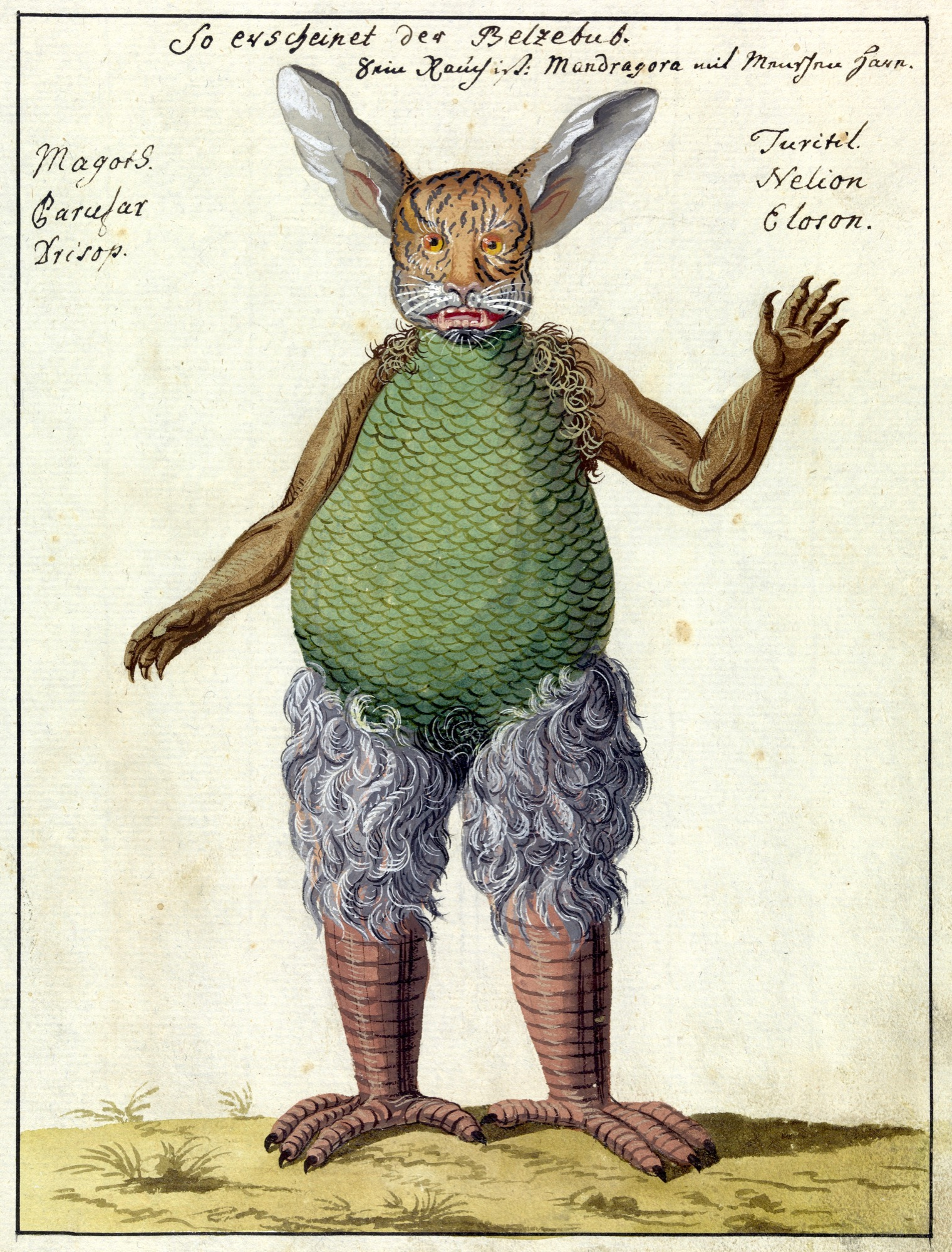 L0076362 Illustration of Beelzebub, MS 1766 Credit: Wellcome Library, London. Wellcome Images images@wellcome.ac.uk http://wellcomeimages.org Beelzebub - portrayed with rabbit ears, a tiger's face, scaled body, clawed fingers and bird's legs. Compendium rarissimum totius Artis Magicae sistematisatae per celeberrimos Artis hujus Magistros. Anno 1057. Noli me tangere. Watercolour c. 1775 Published:  -  Copyrighted work available under Creative Commons Attribution only licence CC BY 4.0 http://creativecommons.org/licenses/by/4.0/