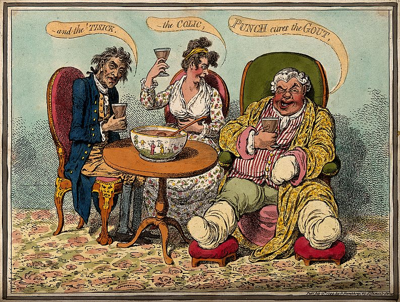 An_obese_gouty_man_drinking_punch_with_two_companions._Colou_Wellcome_V0010858