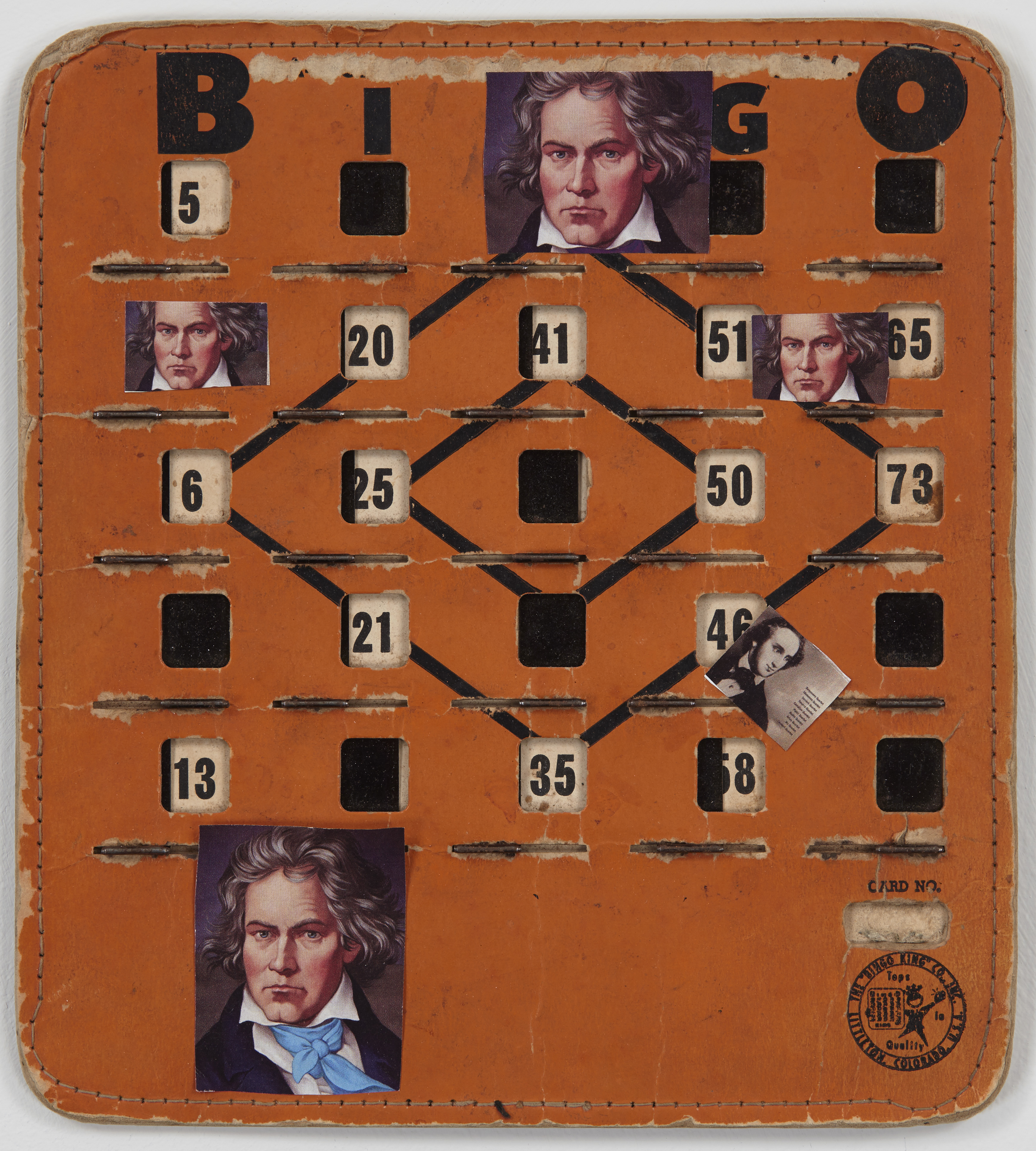 Ashbery_Bingo Beethoven_2014_collage on vintage Bingo board_8.25x7.5in_300dpi