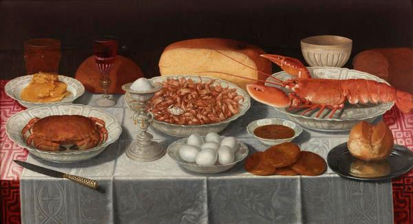 Clara Peeters, Still life with Shrimp and Eggs, circa 1635.
