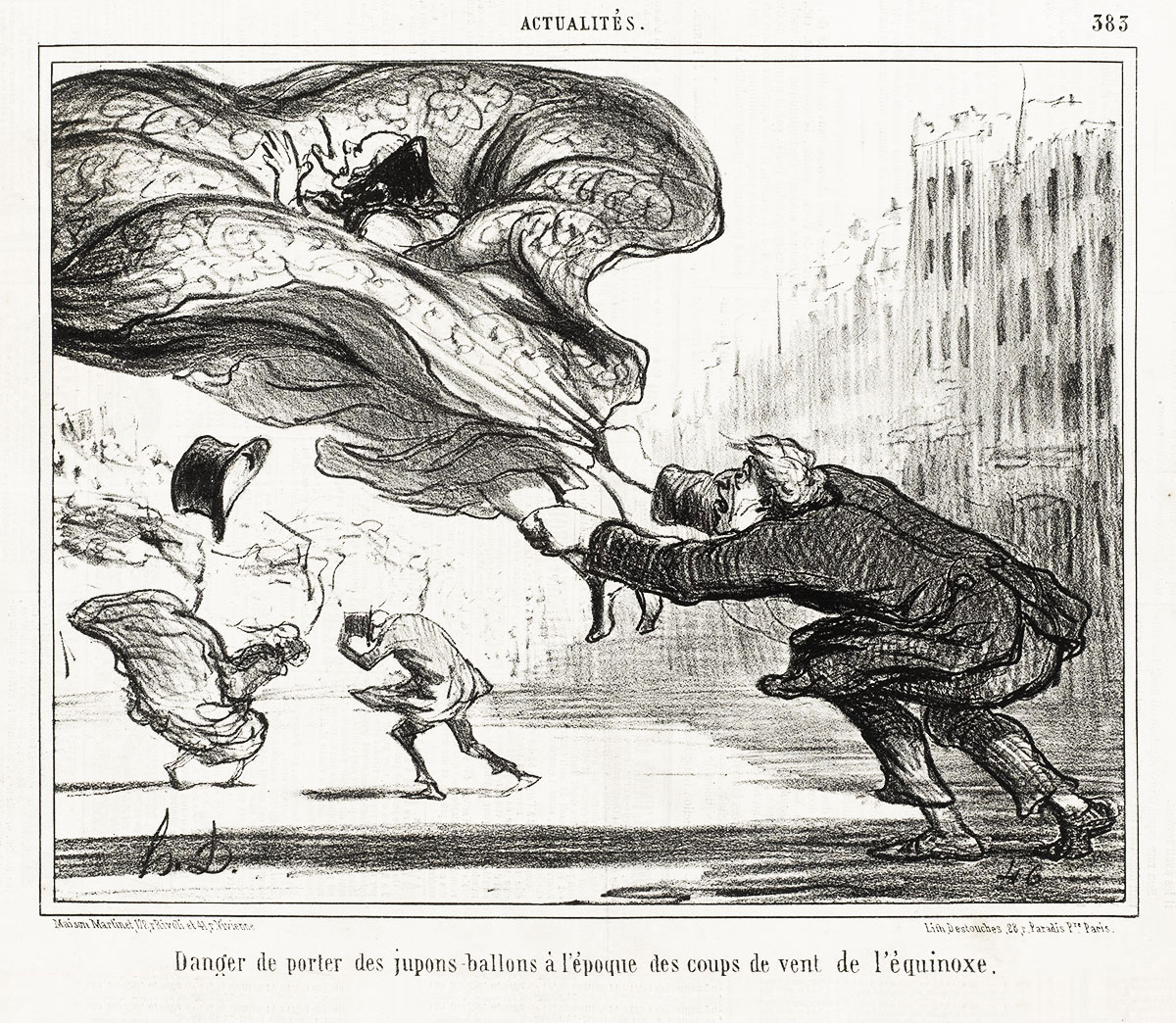 Honoré Daumier, Danger de porter des jupons-ballons à l'époque des coups de vent (The Danger of Wearing Hoop Skirts), 1857.